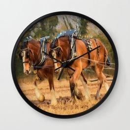 Work Horses Wall Clock
