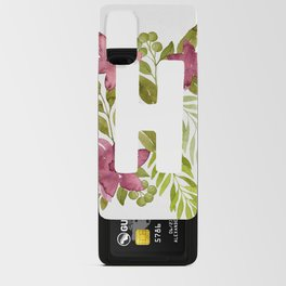 Monogram H with red watercolor flowers and leaves. Floral letter H Android Card Case