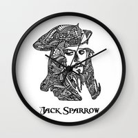 jack sparrow Wall Clocks featuring Captain Jack Sparrow by christoph_loves_drawing