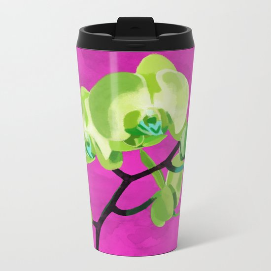Orchid, green Metal Travel Mug