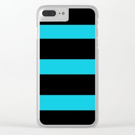 Hollywood Nights Black and Teal Stripes Clear iPhone Case
