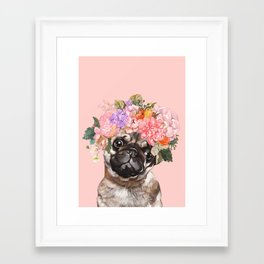 Pug with Flower Crown Framed Art Print