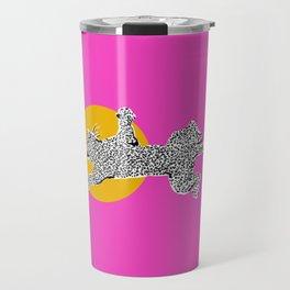 Big Cat Plays Ball with the Sun | Pink Travel Mug