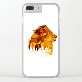Geometric Lion Wild animals Big cat Low poly art Brown and Yellow Clear iPhone Case