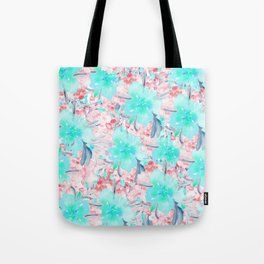 Watercolor turquoise pink hand painted floral Tote Bag