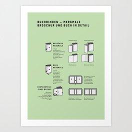 Buchbinden – Merkmale Broschur und Buch im Detail (in German) Art Print