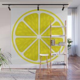 Fresh juicy lime- Lemon cut sliced section Wall Mural
