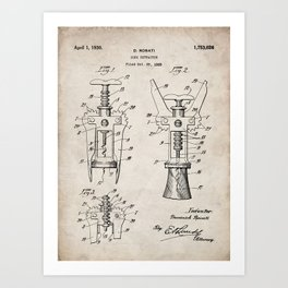 Cork Screw Patent - Wine Art - Antique Art Print