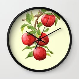red apple in yellow background Wall Clock