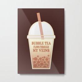 Bubble Tea Veins Metal Print