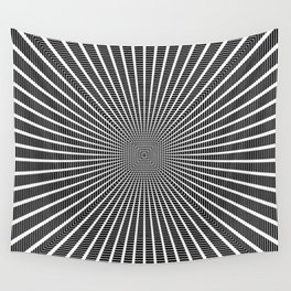 3D Room - White On Black Wall Tapestry