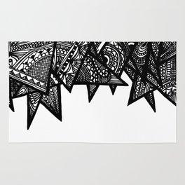 Triangle Henna Print- B+W Rug