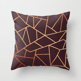 Burgundy Red Golden Pattern Throw Pillow