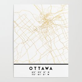 OTTAWA CANADA CITY STREET MAP ART Poster