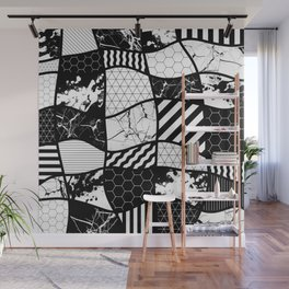Crazy Patchwork (Abstract, black and white, geometric designs) Wall Mural