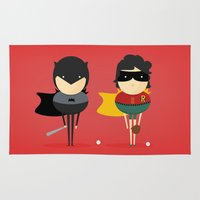 super heroes Area & Throw Rugs featuring Heroes & super friends! by Juliana Rojas | Puchu