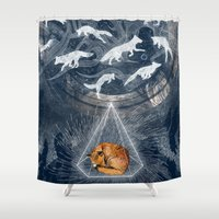 orange Shower Curtains featuring GHOSTS  by Sandra Dieckmann