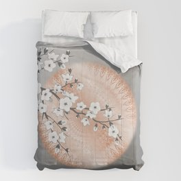 Japanese Cherry Blossom Rose Gold Gray Comforters