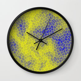 Stained glass texture of snake yellow leather with dark heat spots. Wall Clock
