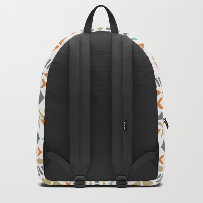 Southwestern Tribal Modern Geometric Stripes of Arrows Chevrons Diamonds Leaves Triangles Circles Backpack