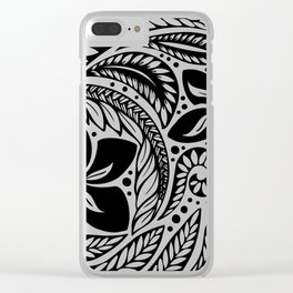 Circular Polynesian Black Floral Tattoo Clear iPhone Case