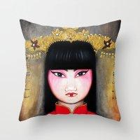 asia Throw Pillows featuring Asia by Melanie Arias