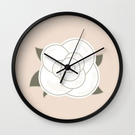 White vintage rose. Vector Illustration Wall Clock