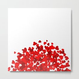 Valentine Day red heart confetti Metal Print