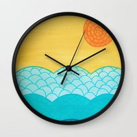 sunrise Wall Clocks featuring Sunrise by sinonelineman