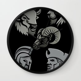 Metallic Sports Icons Collection Set Wall Clock