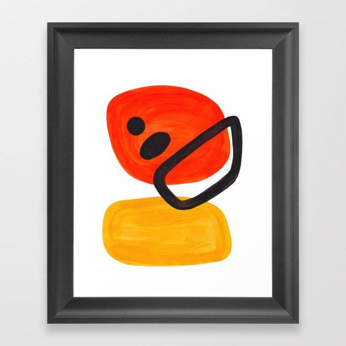 Midcentury Modern Colorful Abstract Pop Art Space Age Fun Bright Orange Yellow Colors Minimalist Gerahmter Kunstdruck
