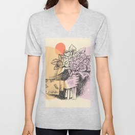 Drawn hand holding and offering rose flowers, printable sketch art, gifts idea for all occasions Unisex V-Neck