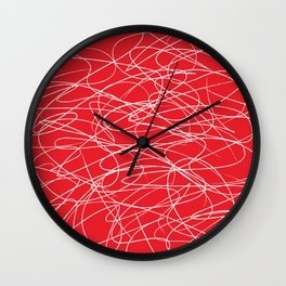 Hand Drawn Scribbles (white/red) Wall Clock