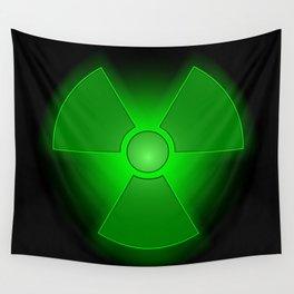 Funny green glowing radioactivity symbol Wall Tapestry