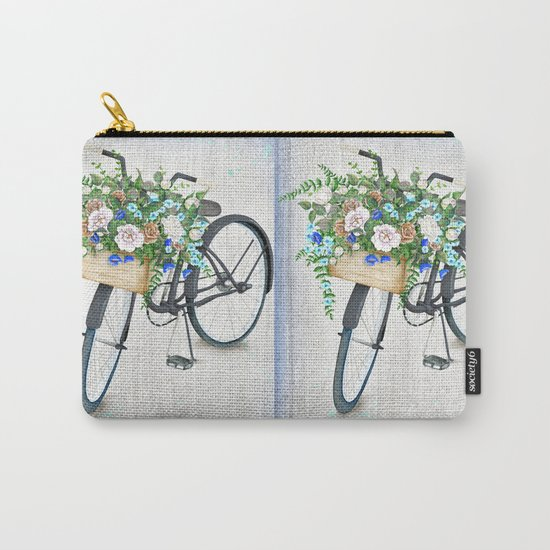 Black bike & roses Carry-All Pouch