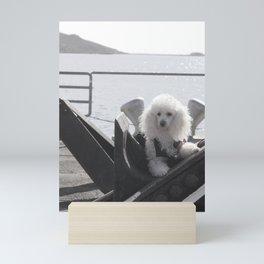 Poodle dog dockside Mini Art Print