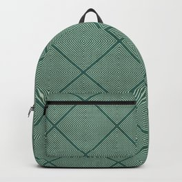 Stitched Diamond Geo Grid in Green Backpack