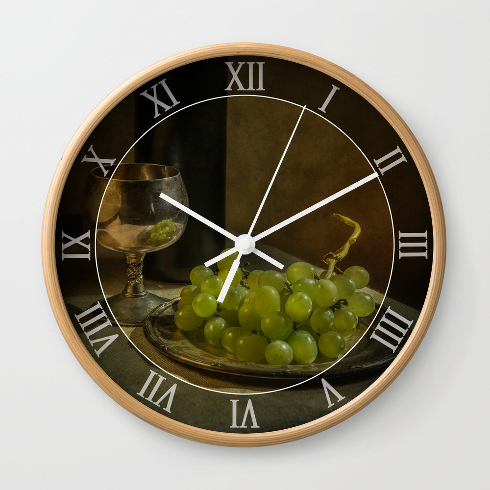 Still Life With Wine And Green Grapes Wall Clock by Jaroslawblaminsky CLK4780105