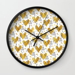 Pilates poses and heart seamless pattern in gold color Wall Clock