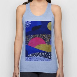 Terrazzo galaxy blue night yellow gold pink Unisex Tank Top