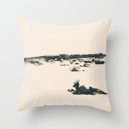 Lady on the beach Throw Pillow