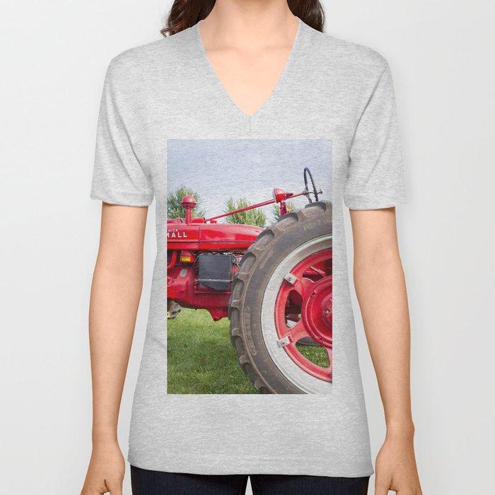 Vintage Tractor Unisex V-Neck