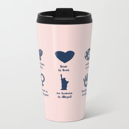 In This House We Believe, Brush Script Pink Travel Mug