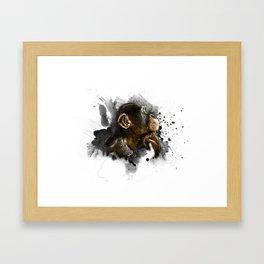 thinking monkey Framed Art Print