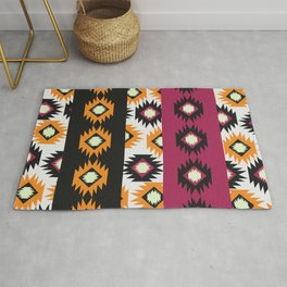 Ethnic shapes in purple and yellow Rug