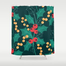 Happy Holly Berry Christmas green decor Shower Curtain