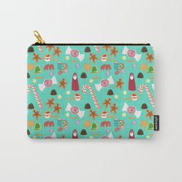 Christmas Sweeties Candies, Peppermints, Candy Canes and Chocolates on Aqua Carry-All Pouch