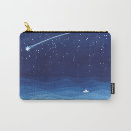 Falling star, shooting star, sailboat ocean waves blue sea Carry-All Pouch