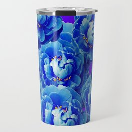Blue Spring Peonies Garden, Ultra-violet-Purple Abstract Travel Mug