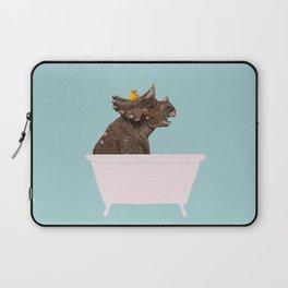 Playful Triceratop in Bathtub Laptop Sleeve